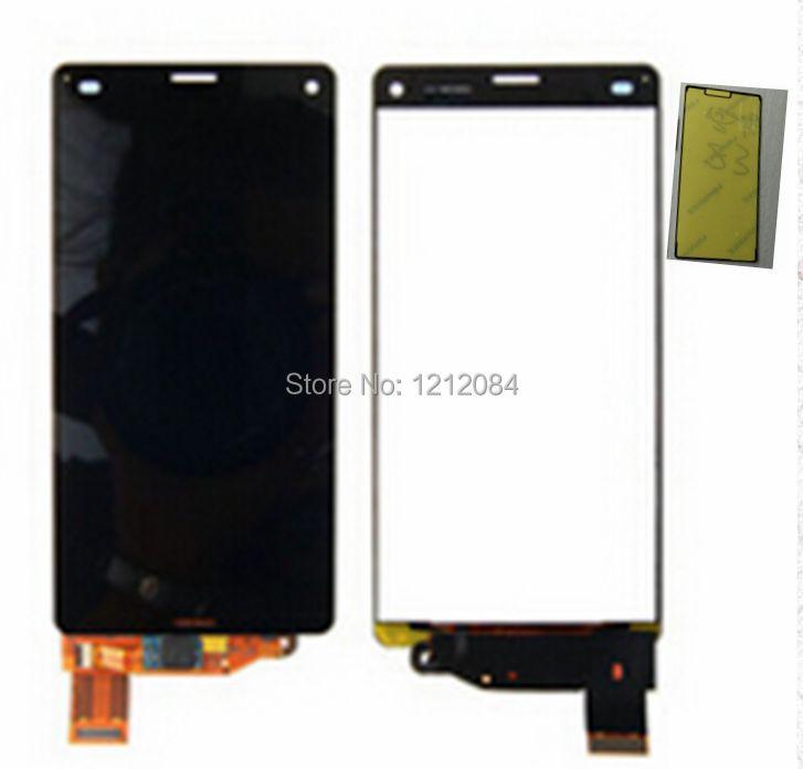 Prix pour Pour Sony xperia z3 compact d5803 d5833 écran Lcd + tactile en verre digitizer assemblée + avant ruban adhésif écran de remplacement