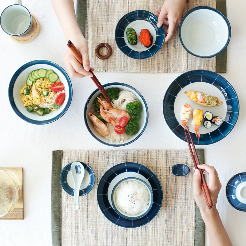 ANTOWALL Japanese HENGFENG series tableware set blue and white ceramic dinner set charger plates in Dinnerware Sets from Home Garden