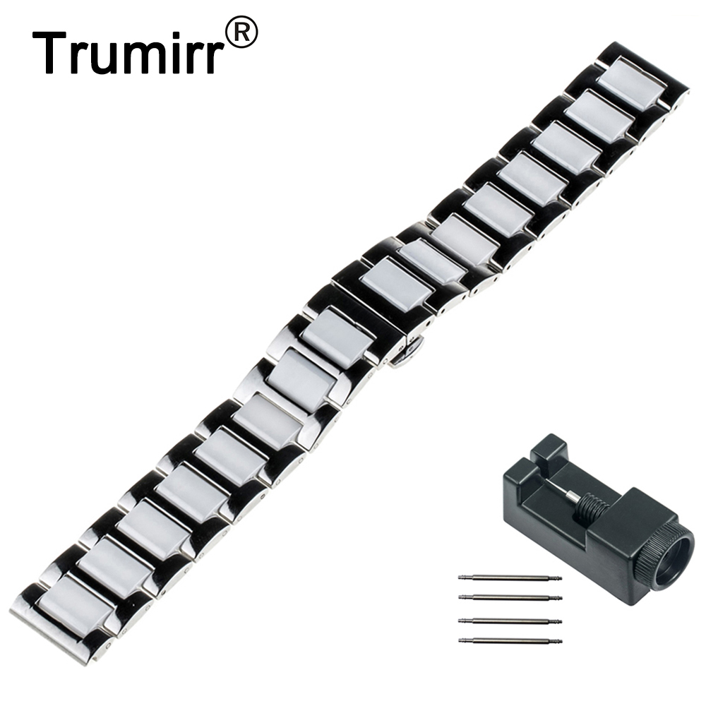 цена на 18mm 20mm 22mm Ceramic Watch Band for Citizen Butterfly Buckle Wactchband Replacement Strap Wrist Belt Bracelet Black Gold White