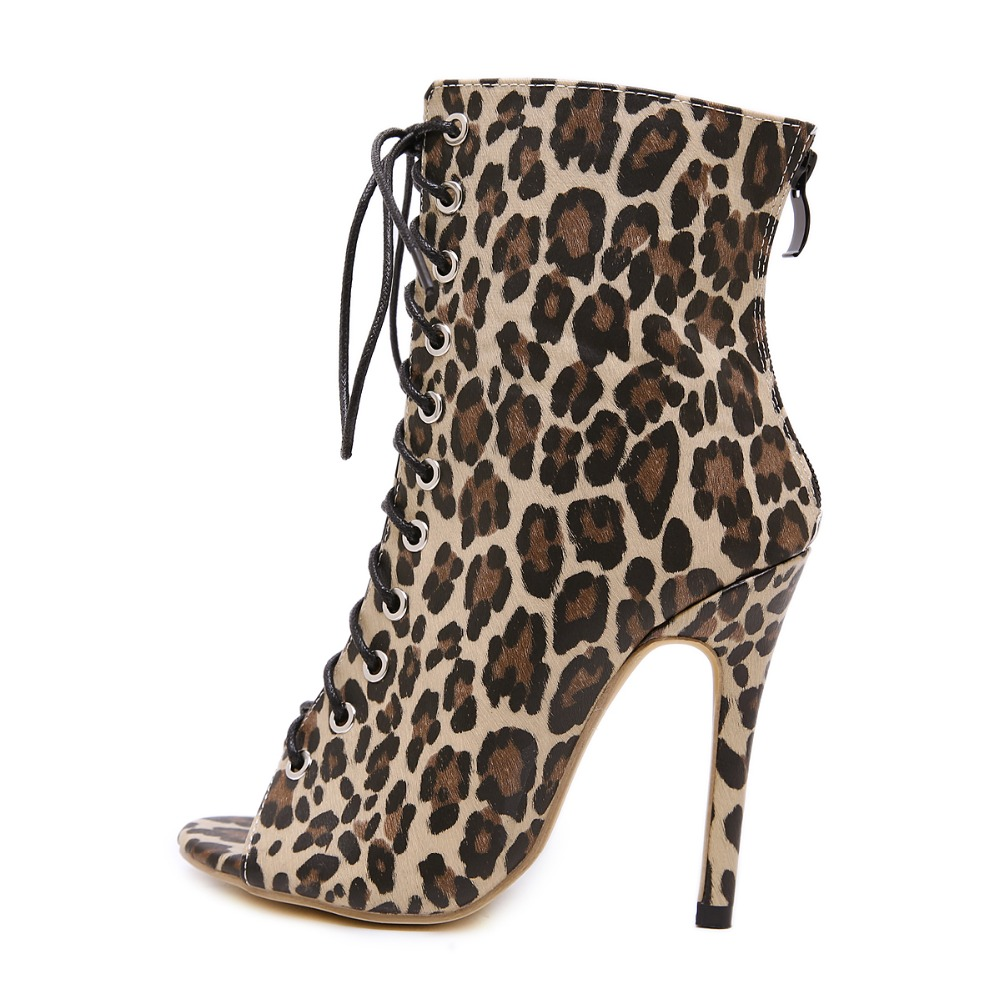 f7bfd24f9461e9 Femme Dame Talon Imprimé Automne Ouvert Bout Slip Pu Cm Léopard Haute V  Bottes Jinjoe Or Chaussures Pompes ...