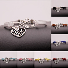 Hot Ancient Silver Hollow Heart Infinity Love Charm Hand-woven Korean Velvet Rope Bracelet Wrap Leather Fashion Women Jewelry european american style ancient silver football sports charm pendant infinity love weaving bracelet women jewelry holiday gift