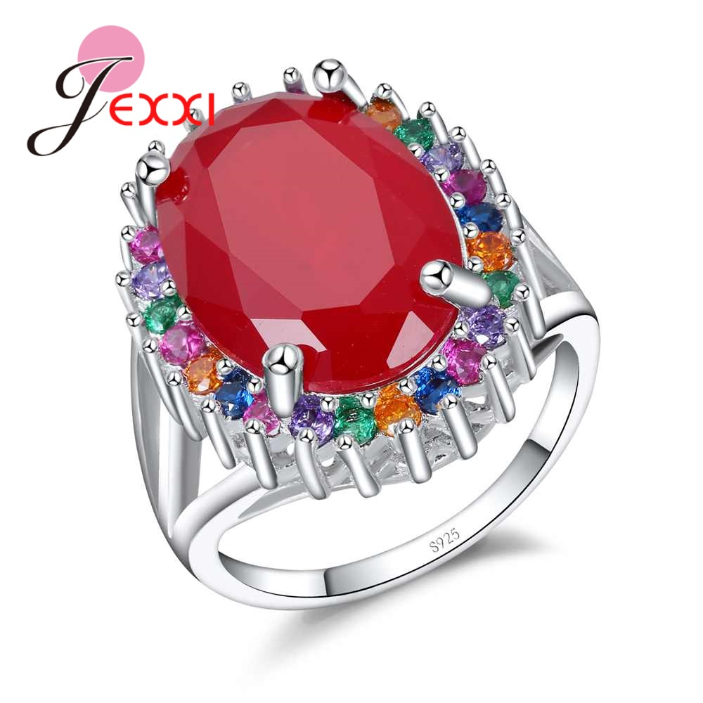 JEXXI Vintage Red CZ Stone Finger Rings For Ladies 925 Sterling Silver Wedding Rings For Women Colorful Crystal Jewelry Bague