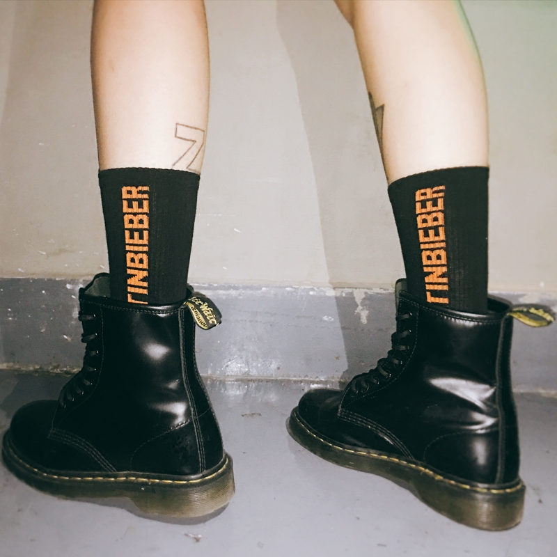 Adult Size Crew Fashion Socks Justin Bieber Sox JB Orange Ulzzang Harajuku Street Capital Letters Hip Hop Sojourner JBiebs Boy