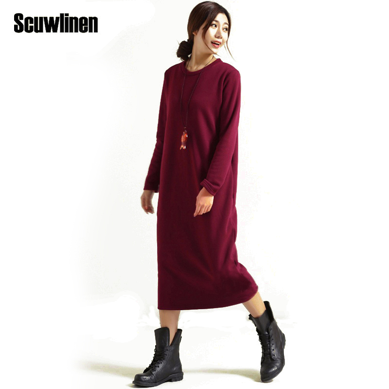 SCUWLINEN Ձմեռային զգեստ 2019 Vestido Կանացի զգեստ Plus Size Velvet Thickening Thermal Basic Dress Long Long Sleeve Solid Warm Dress S59