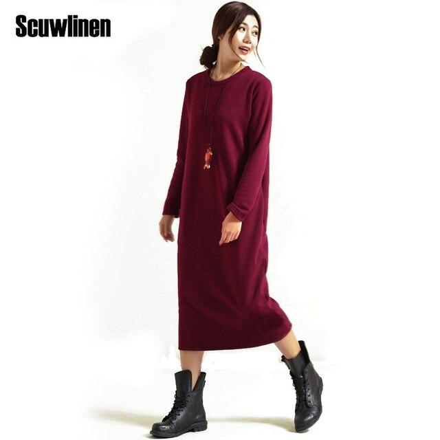Scuwlinen зимнее платье 2018 Vestido женское платье плюс Размеры бархат утолщение Термальность одноцветное платье с длинным рукавом одноцветное теплое платье s59