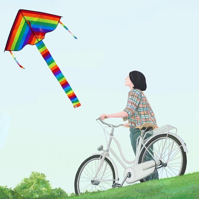 Цветной воздушный змей с ручкой детский Радужный воздушный змей большой маленький красочная полоска длинный хвост ткань воздушный змей открытый игрушки