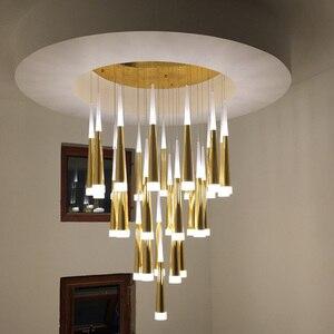 Image 2 - 1 36 heads led stairs pendant lights modern aluminum Acrylic lampbody hang lamp living dining room kitchen suspension luminaire