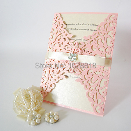 handmade wedding card decoration items laser cut card with ribbon