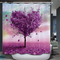 YO CHO Bathroom Shower Curtains Colore Tree Design Polyester Waterproof Bath Curtains With Hooks Bathroom Product