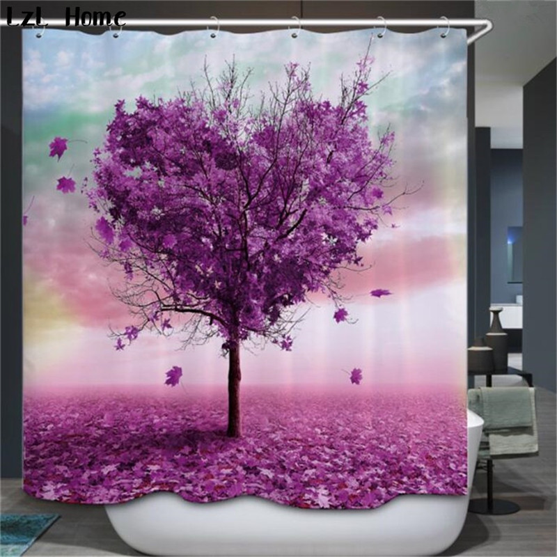 hot Bathroom Shower Curtains colore Tree Design Polyester Waterproof Bath Curtains with Hooks Bathroom Product rideau
