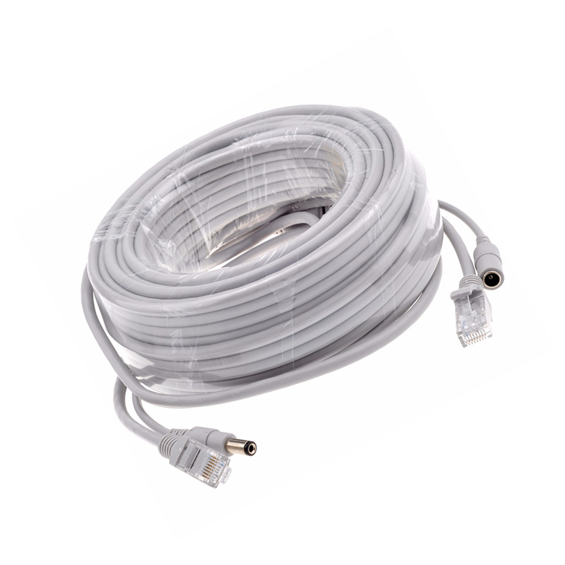 5M 10M 15M 20M 30M Optional Gray CAT5 CAT 5e Ethernet Cable RJ45 and DC Power CCTV Network Lan Cable For System IP Cameras in Transmission Cables from Security Protection