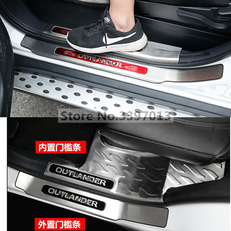 High quality stainless steel inside external Scuff Plate Door Sill For 2013 to 2017 Mitsubishi Outlander