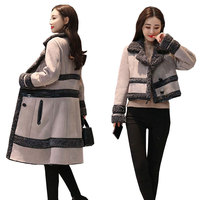 Для женщин шерстяное пальто Новинка зимы плюс толстый бархат Для женщин s шерстяные куртки съемный два носить женские пальто ягненка коротк