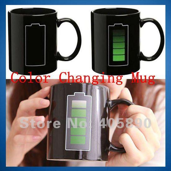 Battery Color Changing Mug with Energy Saving Icon Heat Sensitive