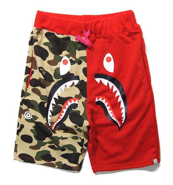 6b7c65dd2b9b BAPE shorts Men Hip Hop Street Camouflage shark shorts Sports Cotton  Painted Drawstring mens Camo bape shark head short. Price