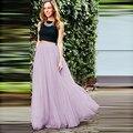 Modest 2016 New Arrival Tull Long Skirts For Women Summer Style Floor Length Bridesmaid Skirt Girls Zipper Style Free Shipping