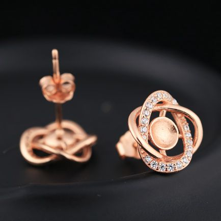 Sterling Silver 925 Rose Gold Color Crystal Women Stud Earrings Semi Mount For 5-6mm Pearl Round Bead DIY StoneSterling Silver 925 Rose Gold Color Crystal Women Stud Earrings Semi Mount For 5-6mm Pearl Round Bead DIY Stone