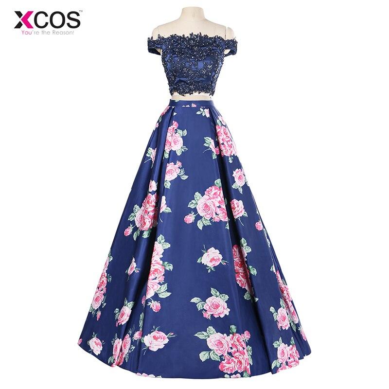 Navy Blue Off Shoulder Two Piece Prom Dresses Long Floral Print 2018
