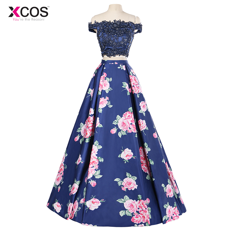 Navy Blue Off Shoulder Two Piece   Prom     Dresses   Long Floral Print 2018 Lace Applique Special Occasion Formal Beaded Evening Gown