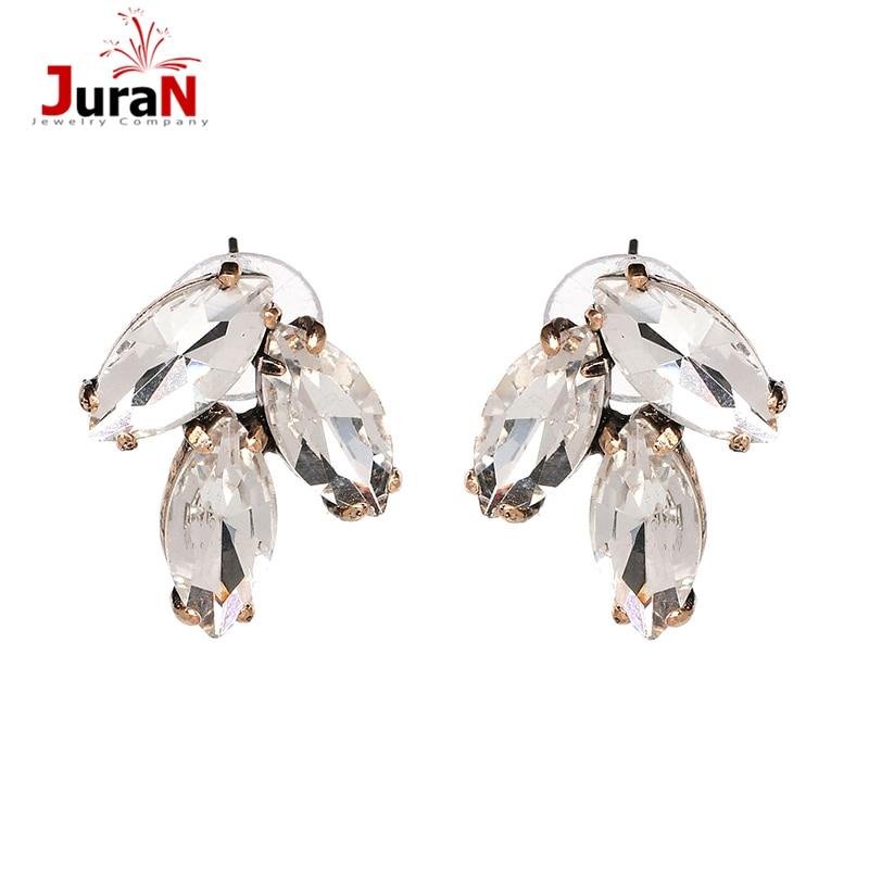 JURAN 2018 New design simple White Rhinestone Earrings Trendy Women Statement Earring Girl Party Stud Earring