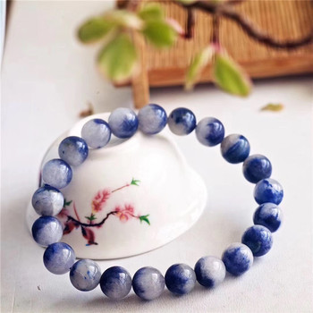 9mm Natural Blue Dumortierite Quartz Rutilated Quartz Crystal Bracelet For Woman Lady Gift Brazil Round Beads Fashion Bracelets