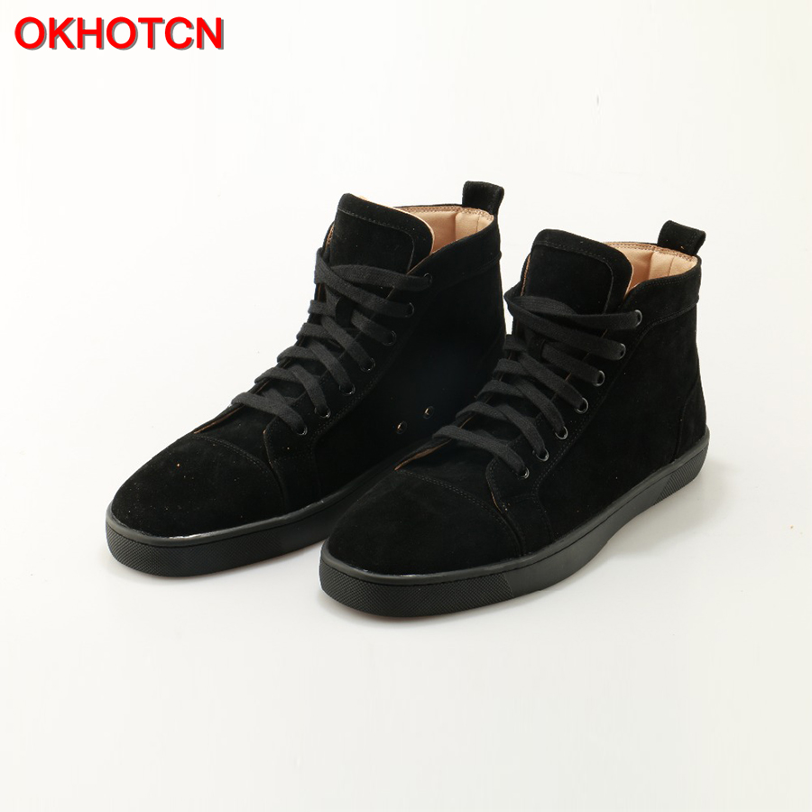 Fashion Black Flock Men High Top Casual Shoes Lace Up Mens Sneakers Round Toe Leisure Flat Shoes High Quality Zapatillas Hombre