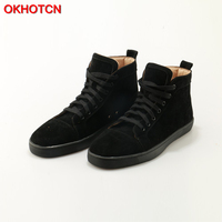 Fashion Black Flock Men High Top Casual Shoes Lace Up Mens Sneakers Round Toe Leisure Flat