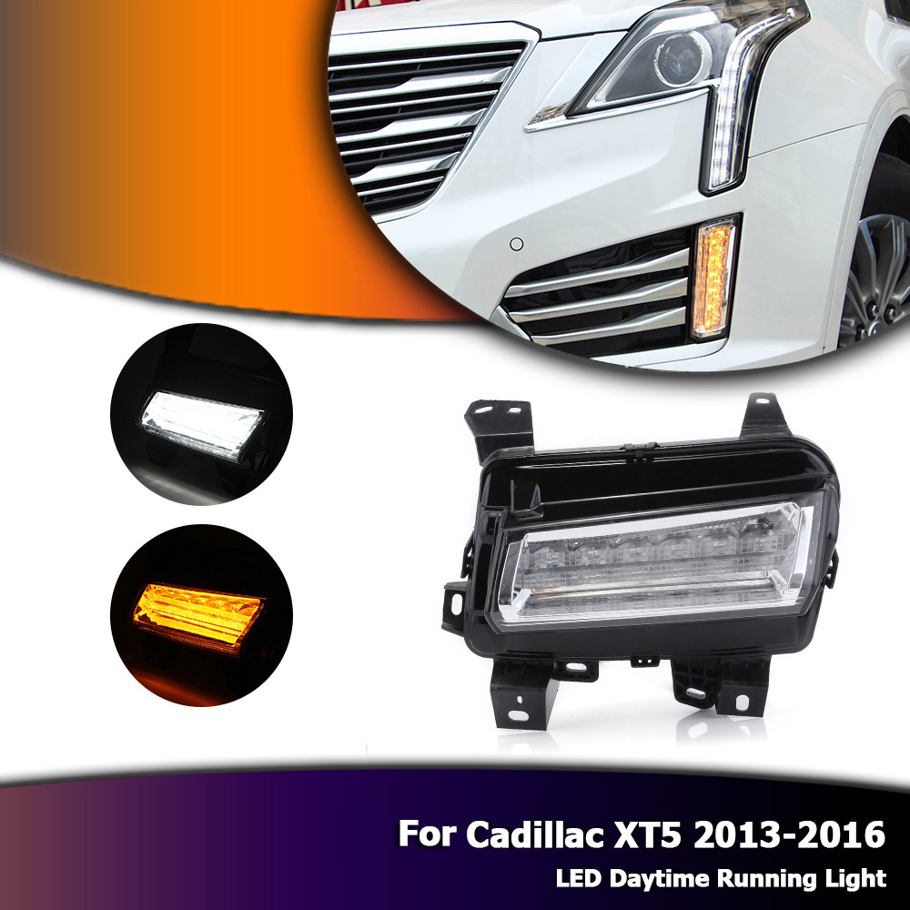 Auto Car LED DRL Daytime Running Lamp Fog Lights Yellow Turn Signals For Cadillac XT5 2013-2016 D35 1set car accessories daytime running lights with yellow turn signals auto led drl for volkswagen vw scirocco 2010 2012 2013 2014