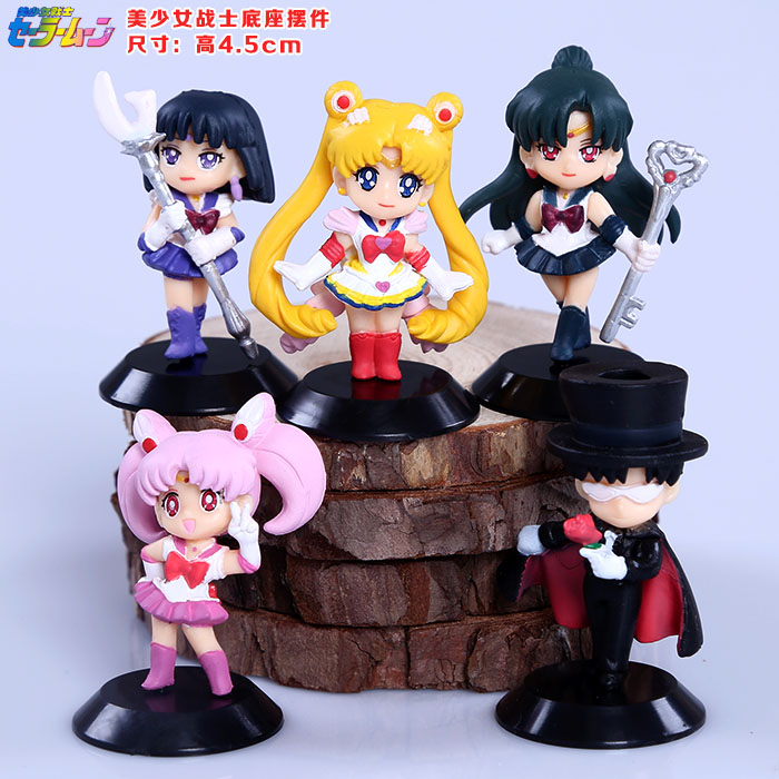купить Sailor Moon Tsukino Usagi  Sailor Saturn Chibi Usa Tuxedo Mask Chiba Mamoru Meiou Setsuna PVC Figures Toys Keychains 5pcs/set дешево