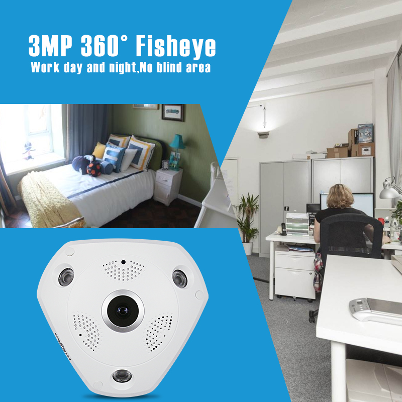 HD 3.0MP WiFi Panoramic IP Camera 360 Degree e-PTZ Fisheye Network CCTV Camera Video Storage Remote IR-CUT Onvif Audio-in hiseeu erasmart hd 960p p2p network wireless 360 panoramic fisheye digital zoom camera white