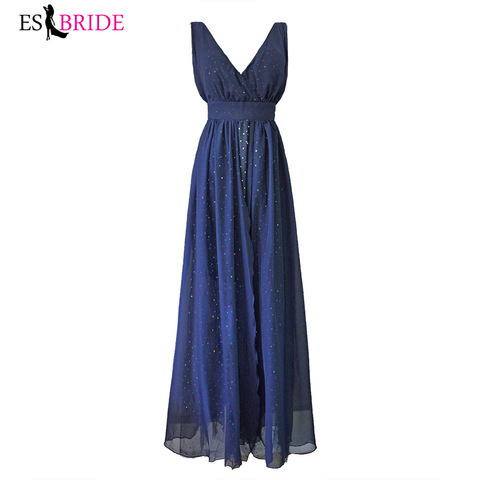 Sexy Deep V-neck Backless Evening Dress Blue Sleeveless Sexy Evening Dresses New Arrival Evening Prom Gowns for Women ES1144 Lahore