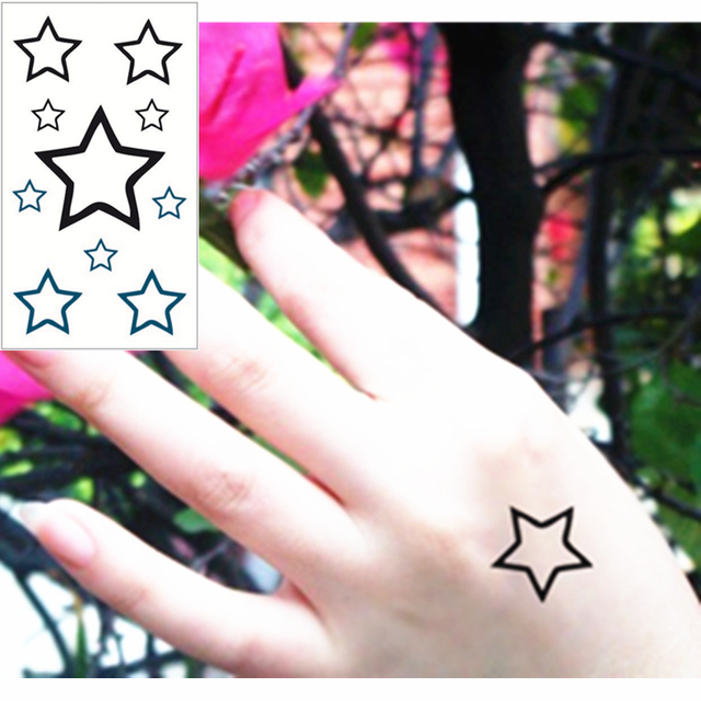 ec5d40359 SHNAPIGN Hollow star Flash Tattoo Hand Sticker 10.5*6cm Small Waterproof  Henna Beauty Temporary Body Sticker Art FREE SHIPPING