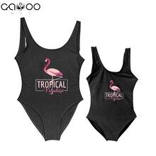 4f32532bb5 2019 mama Und Kinder Tochter Flamingo Tropical Paradise Nette One Piece  Badeanzug Frauen Baby Mädchen Bademode
