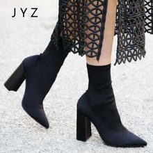 Fashion New Womens Mid Calf Boots Pointed Toe High Heels Strech Fabric Platform Pumps Shoes Lady Size 40 aa1006