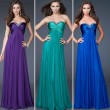 Vestido Madrinha Longo Custom Made Navy Blue/Purple Pleat Beading Crystal Satin Chiffon A-Line Long Bridesmaid Dress Party
