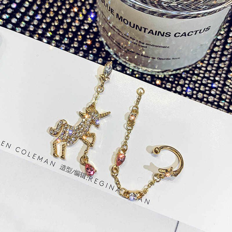 1 para koreański złoty bajki Diamante kolczyki dla kobiet nosić osobowość jednorożec kształt wykwintne kryształowe długie frędzle ucha wisiorek