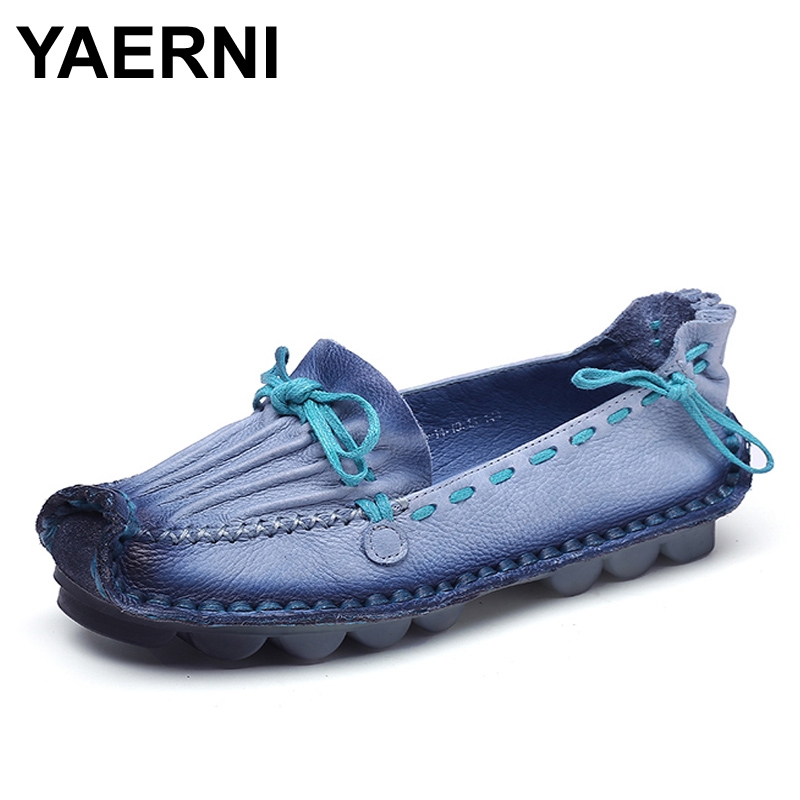 YAERNI Genuine Leather Flat Handmade Outsole Comfortable Casual Shoes Women Flats Soft Single Shoes Solid Women Loafers 2017 fashion women shoes genuine leather loafers women mixed colors casual shoes handmade soft comfortable shoes women flats