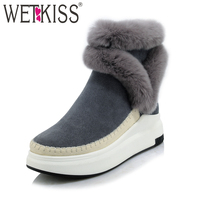 WETKISS 2018 Brand Women Ankle Boots Suede Leather Fashion Fur Zipper Wedges Shoes Woman Platform Winter