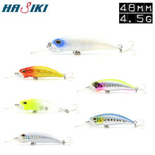 HASIKI Float Minnow Fishing Lures 48mm 4.5g Mini Hard Bait Artificial Plastic Crankbait Hard Bait With 3 BBK Hooks(China)