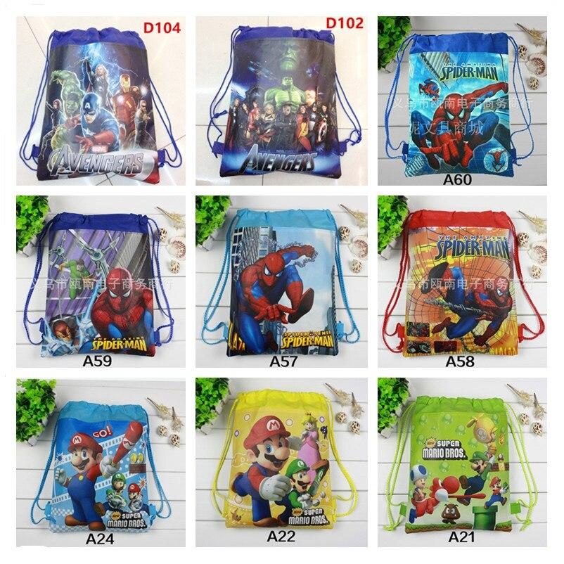 1pcs Super Mario Bros School Backpack For Boy Non-woven Superhero Spiderman Drawstring Bag Girl Kids Birthday Favors