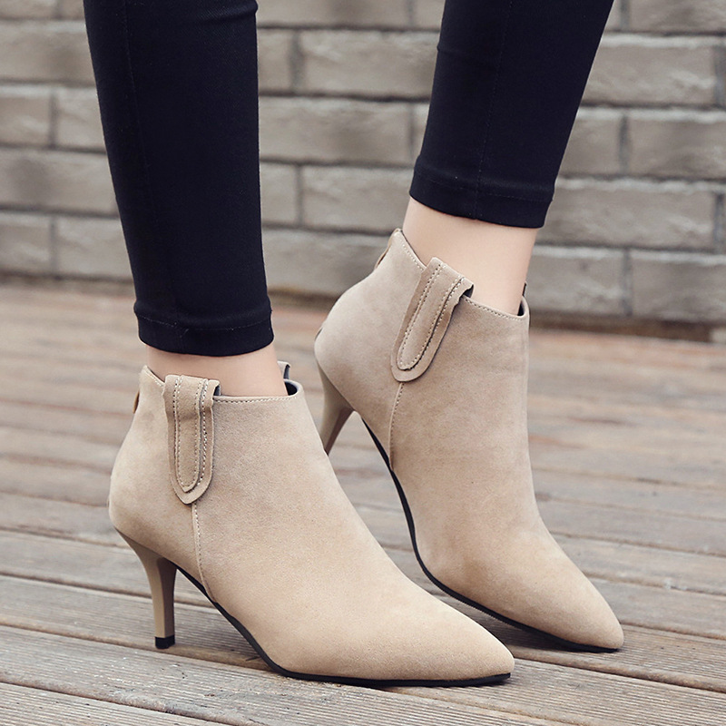 все цены на Sexy Pointed Toe Kitten Midium Heels Autumn Shoes Women Faux Suede Martin Boots 2018 Side Zipper Ankle Boots Woman Footwear