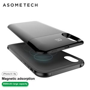 Image 4 - Bateria de carregamento sem fio de 5500mah, bateria de carregamento wireless separada para iphone xxs xr xs max de adsorção, banco de energia magnético