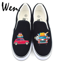Wen Low Sneakers Design Travel Luggage Cars Happy Self-driving Canvas Shoes Slip on Flats for Man Woman Gifts