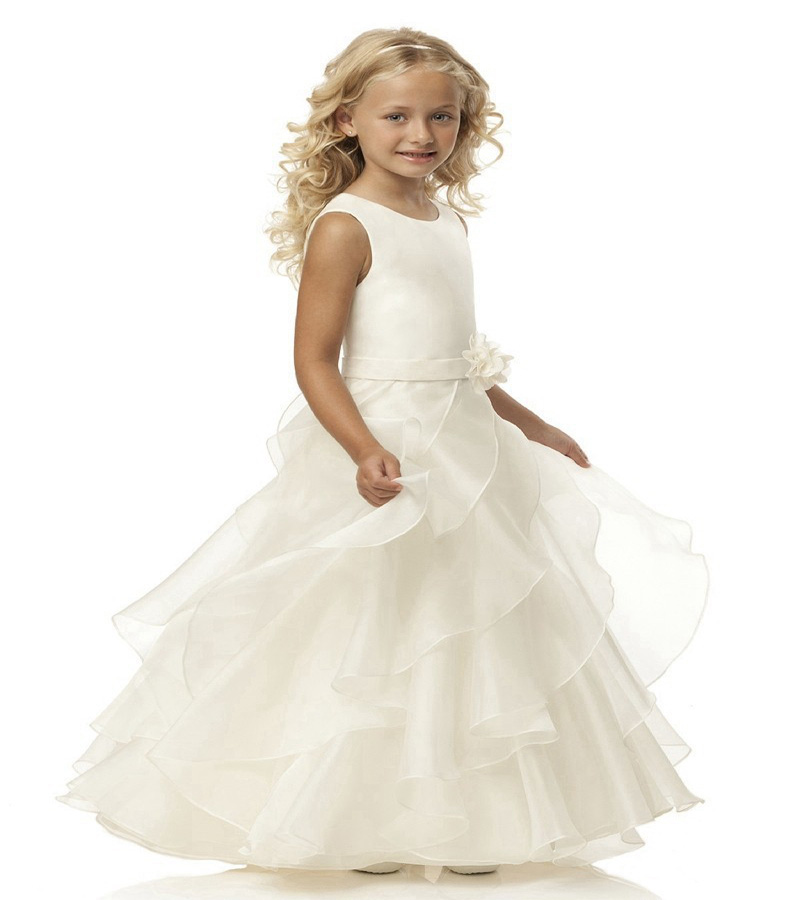 Princess Ball Gown White Flower Girls Dresses For Weddings Custom First Communion Dress Gown Sleeveless Mother Daughter Dresses princess ball gown red lace flower girls dresses for weddings birthday communion kids stage performance