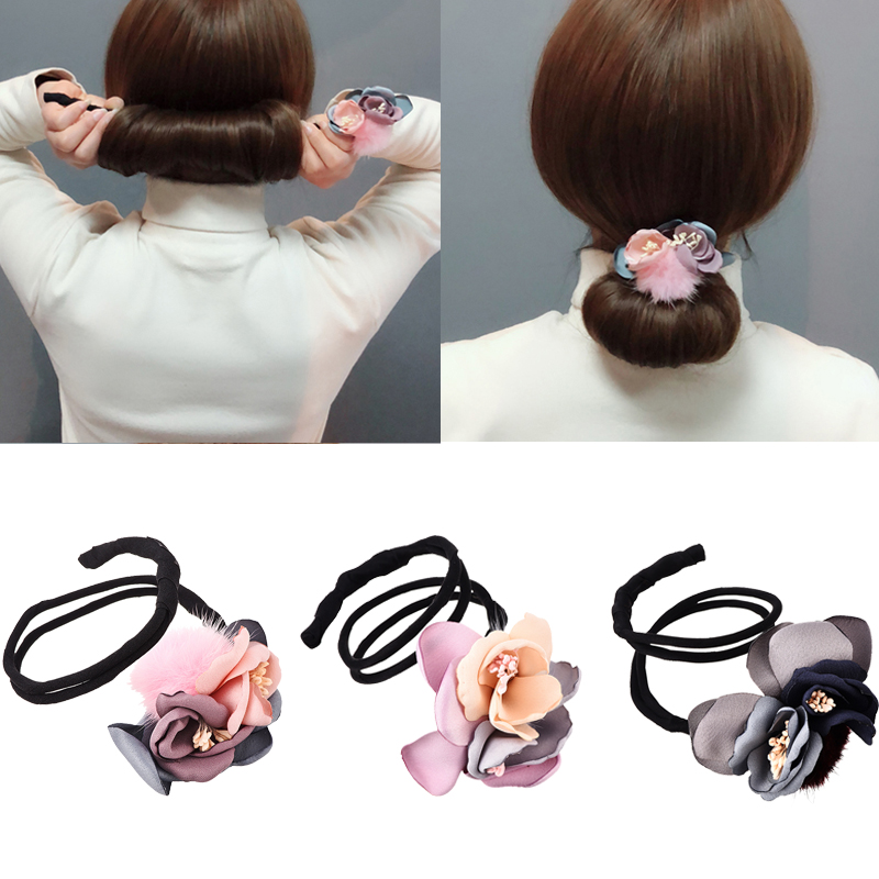 72e9b98c5 Women Magic DIY Hairstyle Flolar Hair Bun Maker Donut Twist Tool Headband  Pompom French Bud Dish