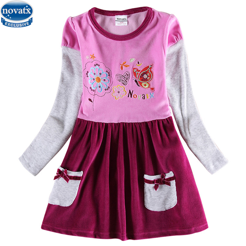 novatx H6686retail kids children girl clothing winter autumn embroidery chinese floral causal frock girl dress baby girl clothes forex b016 6686 b