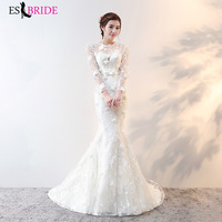 Vestidos de fiesta de noche Mermaid Wedding Dress for Women Elegant Formal Wedding Dresses Simple White Vestido De Noiva ES1739