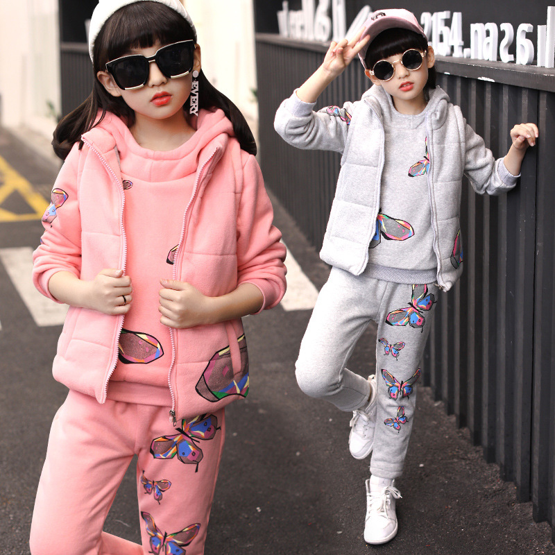 Children's clothing winter clothing suit 2017 new children autumn and winter children plus velvet thick sweater three-piece suit baby children s clothing boys and girls set sweater autumn winter warm new fashion gold velvet leisure sports two piece a8888