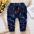 Roupas de bebe Otoño Bebés Niños Jeans Azul Impresión de La Cintura Elástica Pantalones Casuales Niños Pantalones Largos