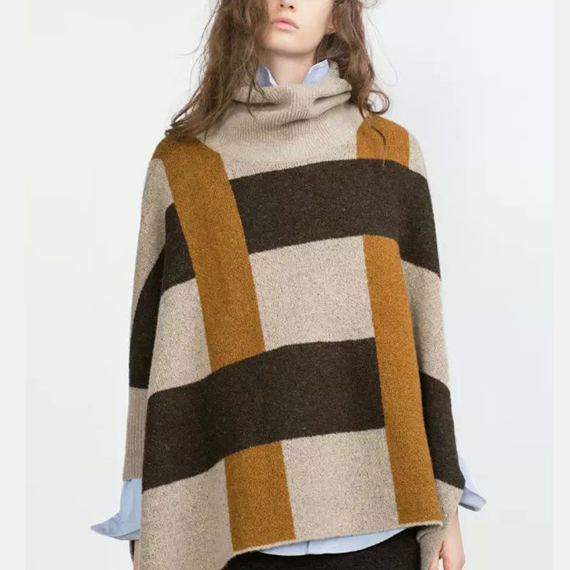 WomenTurtleneck knitted Poncho Sweaters plaid Mohair three